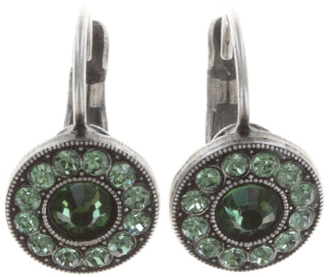 earring eurowire Spell on You dark green antique silver