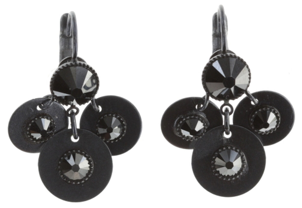 earring eurowire dangling Reptile Meteor black dark antique silver