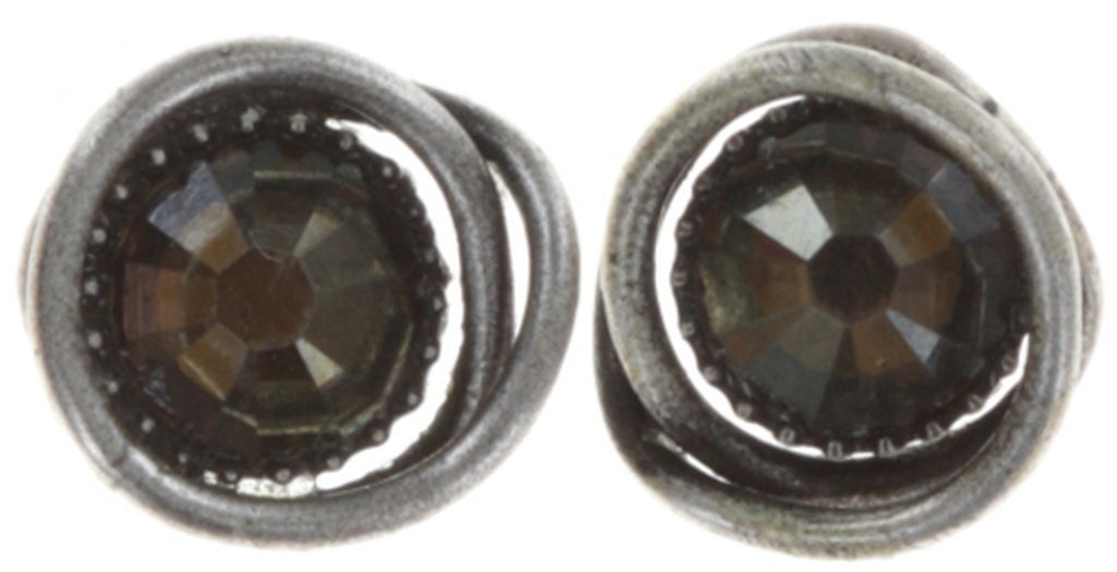 earring stud Sparkle Twist dark brown antique silver