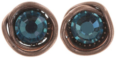 earring stud Sparkle Twist dark blue antique copper