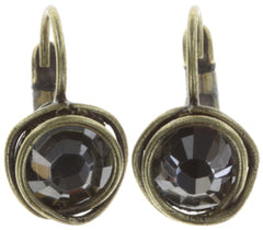 earring eurowire Sparkle Twist grey antique brass