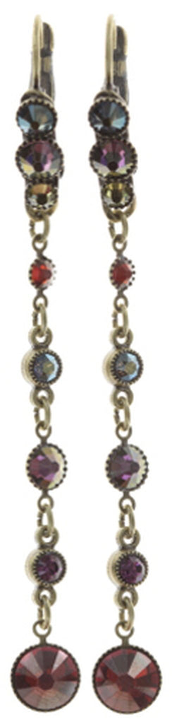 earring eurowire dangling Waterfalls dark multi antique brass
