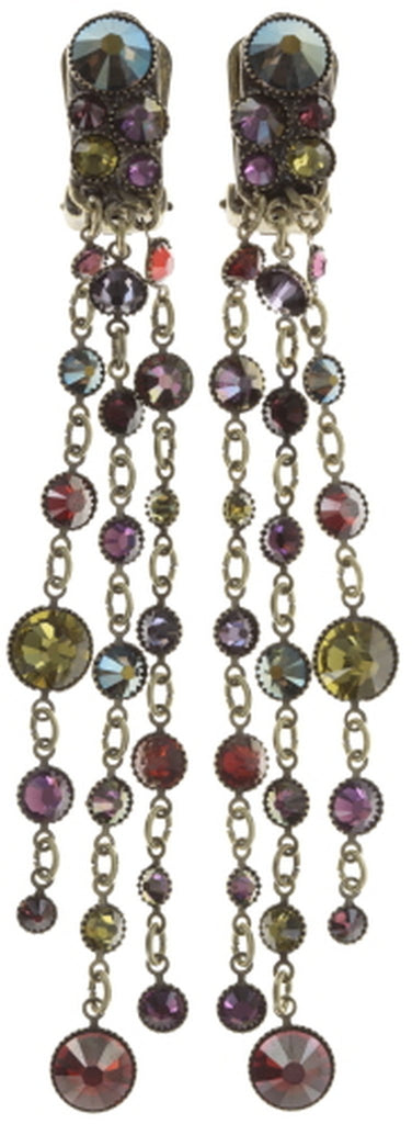 earring clip dangling Waterfalls dark multi antique brass