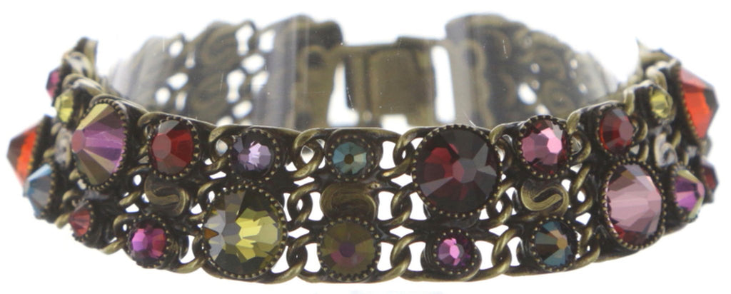 bracelet Waterfalls dark multi antique brass