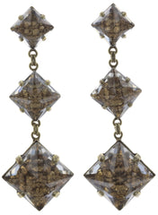 earring stud dangling Iceberg De Luxe beige antique brass size XL,M,S