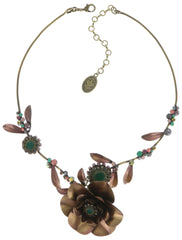 necklace In Honor of the Rose green antique brass