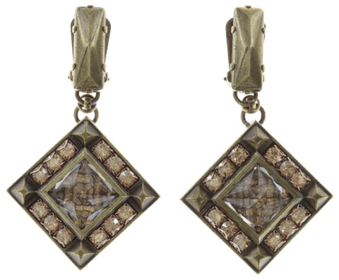 earring clip dangling Iceberg De Luxe beige antique brass