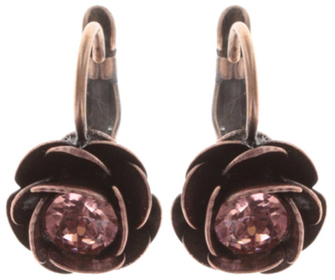 earring eurowire In Honor of the Rose red antique copper