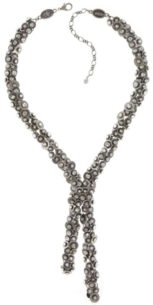 necklace-Y Reptile Meteor white antique silver