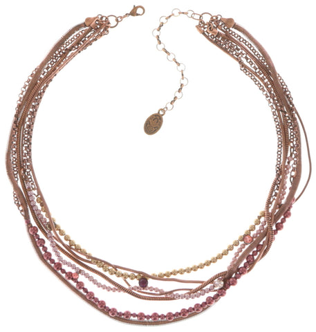 necklace Chameleon brown/pink antique copper