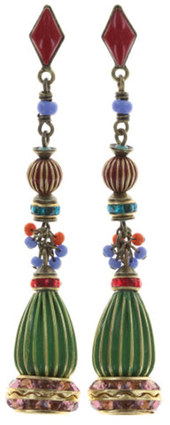 earring stud dangling Oriental Bliss multi antique brass