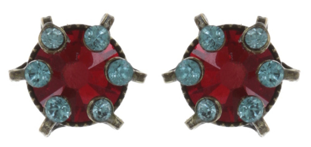 earring stud La Maitresse red/blue antique brass