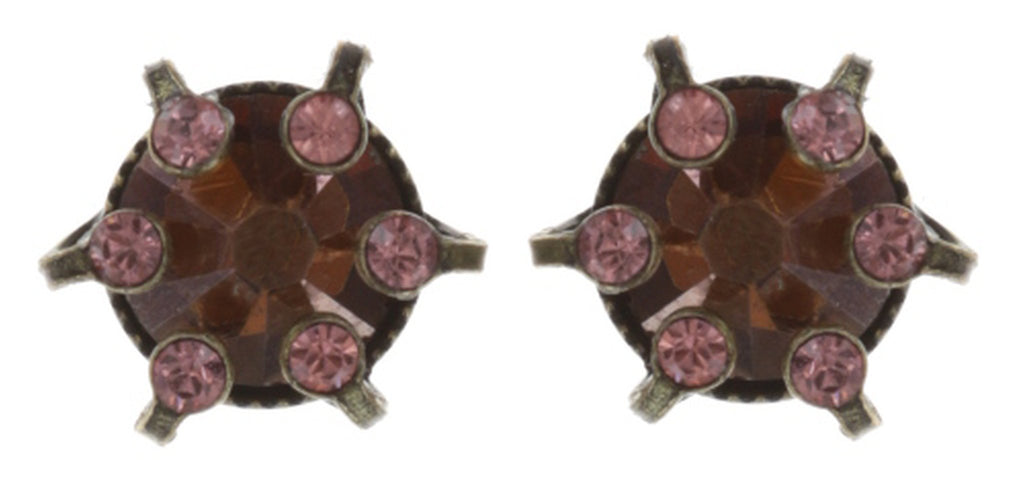 earring stud La Maitresse pink/brown antique brass
