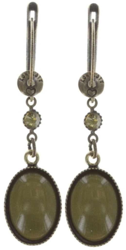 earring dangling Alien Caviar green antique brass