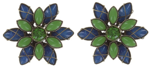 earring stud Psychodahlia blue/green antique brass extra small