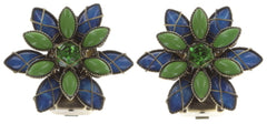 earring clip Psychodahlia blue/green antique brass extra small
