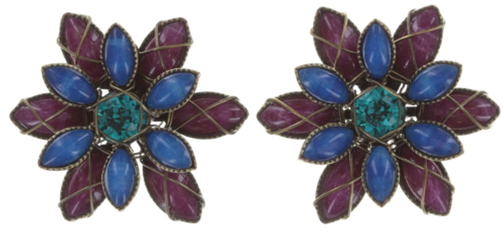 earring stud Psychodahlia blue/lila antique brass extra small