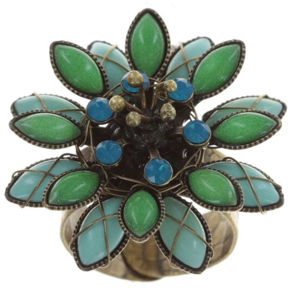 ring Psychodahlia blue/green antique brass small