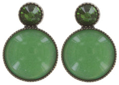 earring stud Alien Caviar green antique brass