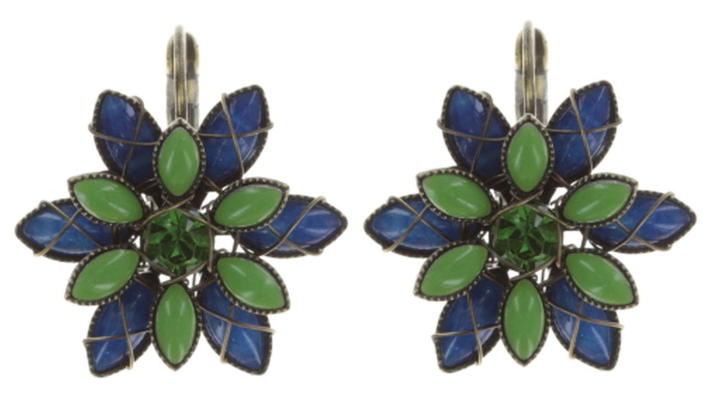 earring eurowire Psychodahlia blue/green antique brass extra small