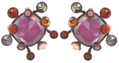 earring stud Alien Caviar pink/orange antique copper