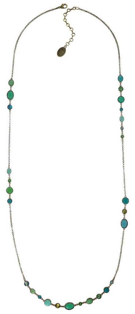 necklace (long) Alien Caviar green antique brass