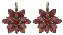 earring eurowire Psychodahlia orange/lila antique brass extra small