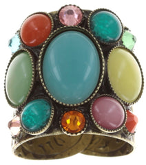 ring Alien Caviar yellow/multi antique brass