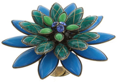 ring Psychodahlia blue/green antique brass large