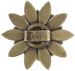 ring Psychodahlia white antique brass large