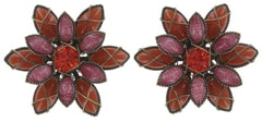 earring stud Psychodahlia orange/lila antique brass extra small