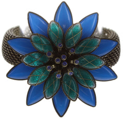 bracelet Psychodahlia blue/green antique brass large