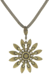 necklace pendant Psychodahlia white antique brass extra large