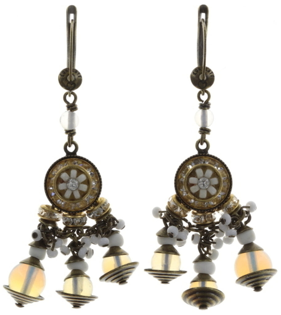 earring dangling Oriental Bliss white antique brass