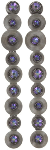 earring stud dangling Reptile Meteor blue/violet antique silver