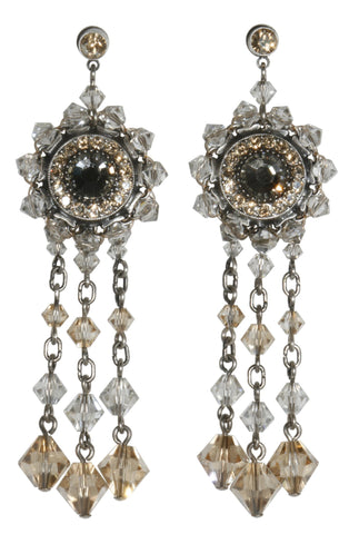 earring stud dangling Maharani beige antique silver