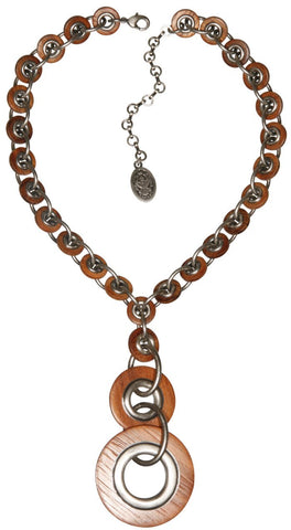 necklace-Y Eternal Rings dark brown antique silver