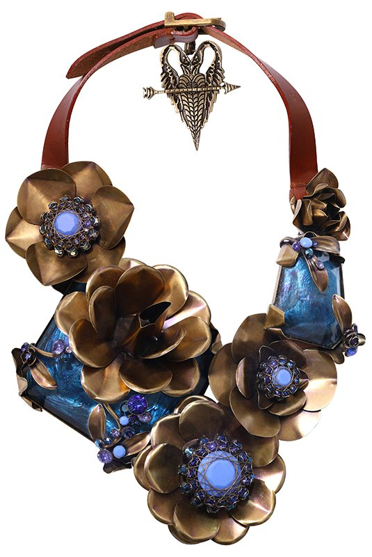 necklace collier In Honor of the Rose blue antique brass