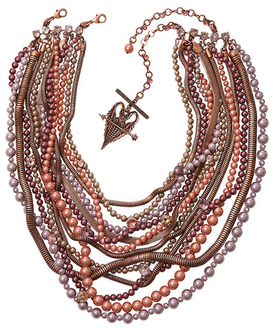 necklace collier Chameleon brown/pink antique copper