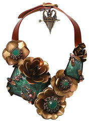 necklace collier In Honor of the Rose green antique brass