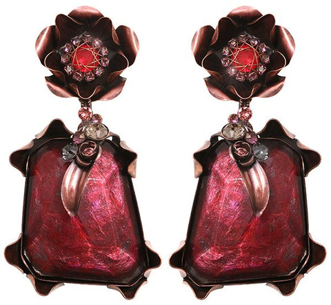 earring clip dangling In Honor of the Rose red antique copper