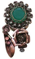 ring In Honor of the Rose green antique brass