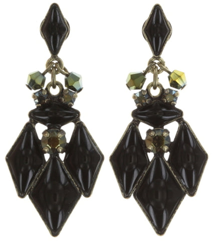 earring stud dangling Arabic Nights black/green antique brass