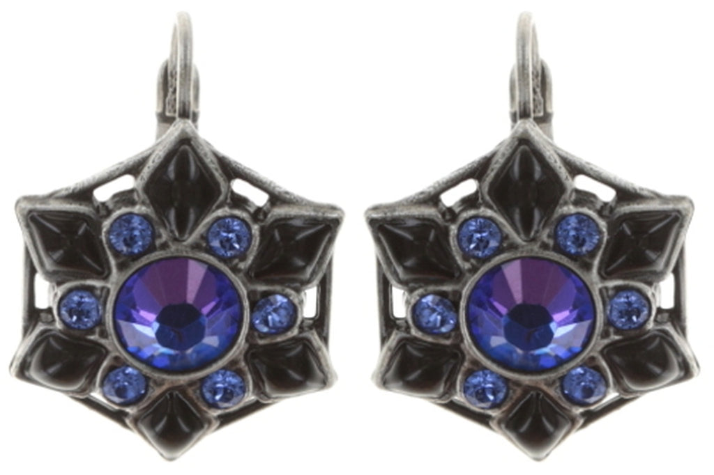 earring eurowire Arabic Nights blue antique silver small