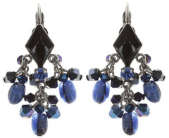 earring eurowire dangling Arabic Nights blue antique silver