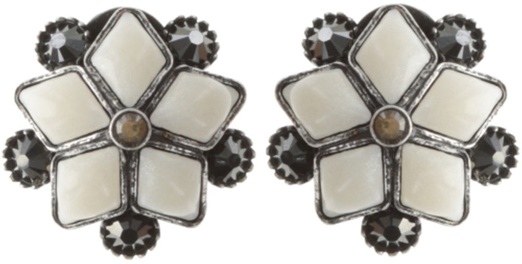 earring stud Arabic Nights white/grey antique silver smallest