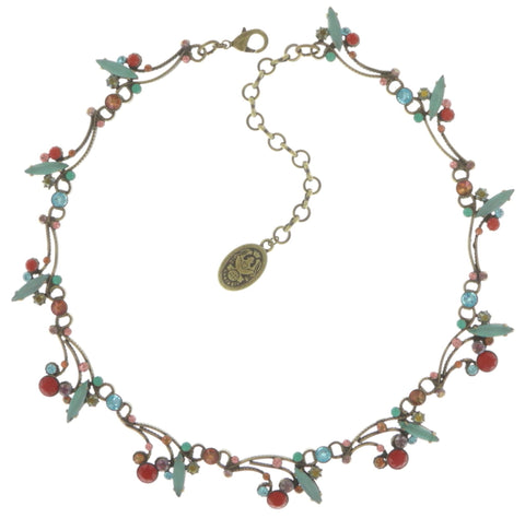 necklace La Maitresse multi/green antique brass