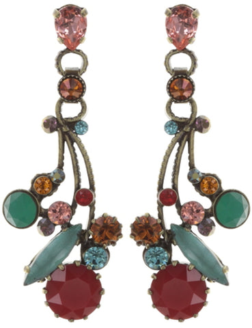 earring stud dangling La Maitresse multi/green antique brass