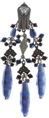 earring clip dangling Arabic Nights blue antique silver