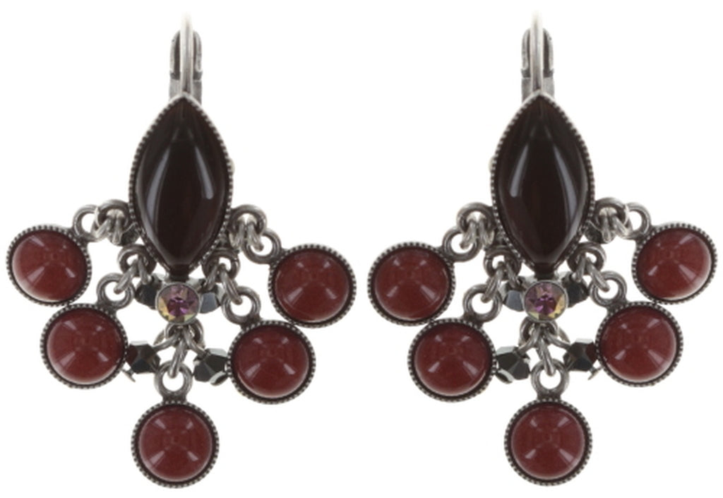 earring eurowire dangling Dangling Navette black/red antique silver